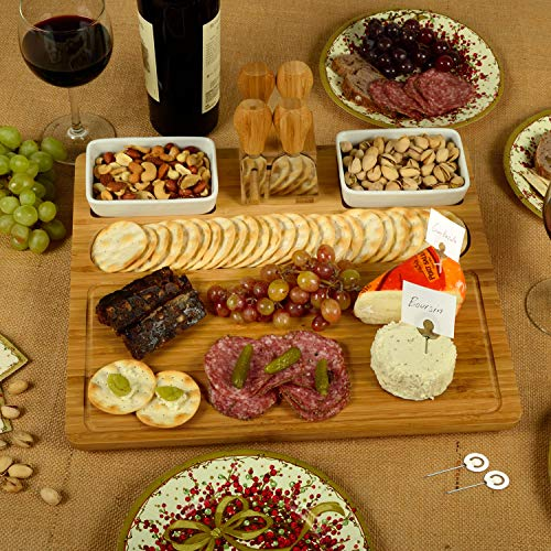 Designed /& Quality Checked in the USA Picnic at Ascot Bamboo Large Cheese//Charcuterie Board with Ceramic Bowls Stainless Steel Cheese Tools /& Cheese markers 17 x 13