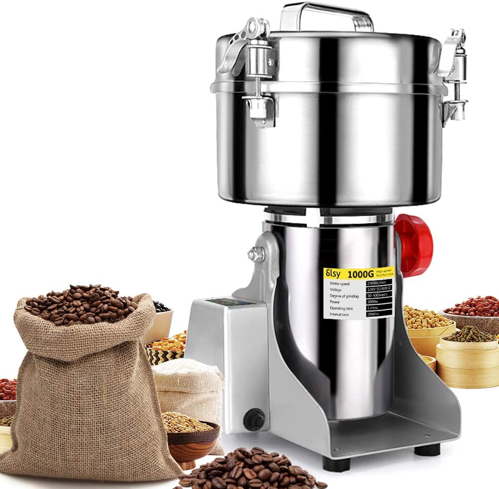 SLSY 1000g Electric Grain Mills LCD Digital Grinders Mill Machine Stainless Steel Ultra Grinder Machine for Kitchen Herb Spice Pepper Coffee Corn (1000g w/LCD Display)
