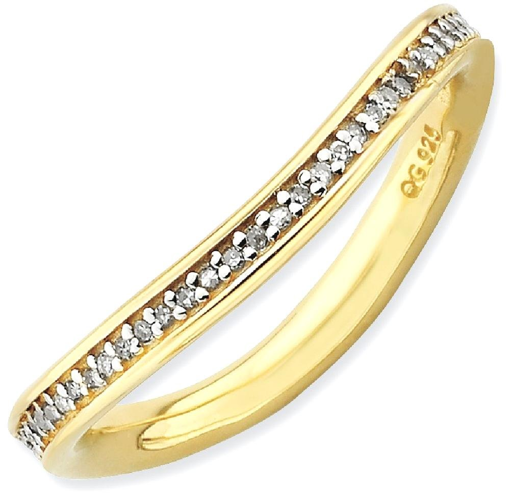 ICE CARATS 925 Sterling Silver Diamonds Gold Plated Wave Band Ring Size 7.00 Stackable Curved Fancy Fine Jewelry Gift Set For Women Heart