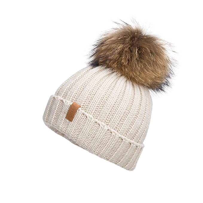 Womens Fur Bobble Skullies and Beanies, Beige (Neutral), One Size Dash
