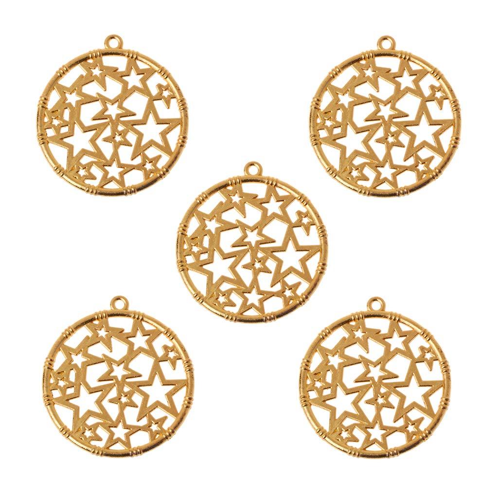 5x Round Star Blank Frame Pendant Open Bezel Setting UV Resin Jewelry Making