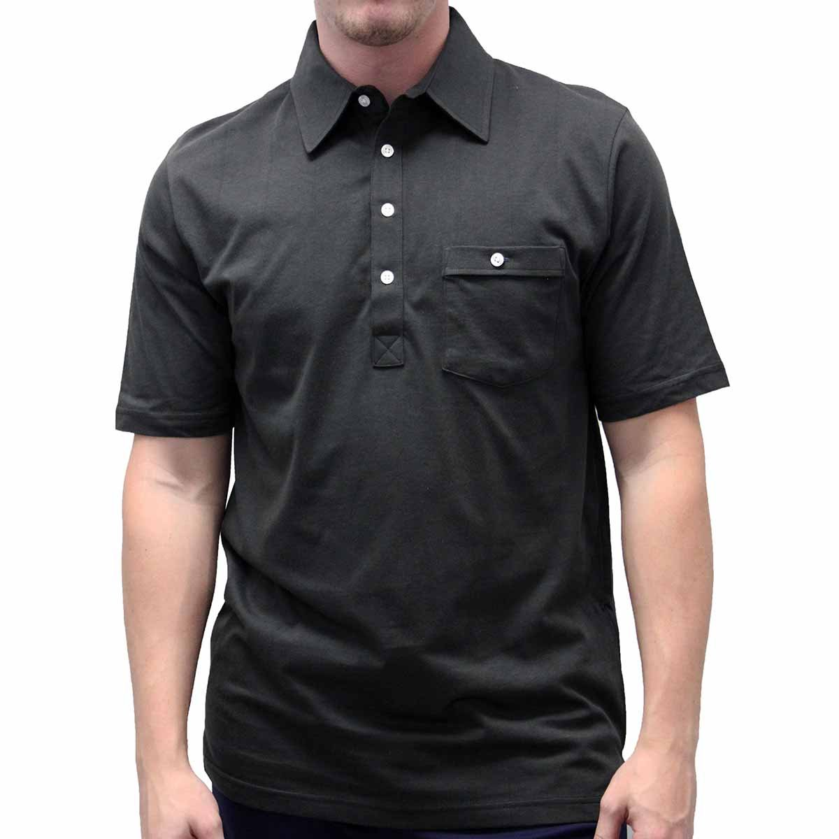 Palmland Solid Textured Short Sleeve Knit Big and Tall Black