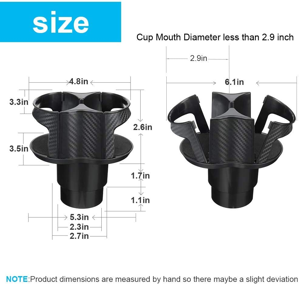 20 oz Coffee Drinks Bottles NSTART Universal Car Cup Holder Expander Adapter,2 in 1 Multifunctional Dual Cup Mount Extender Organizer for Vehicles with 360/°Rotating Adjustable Base to Hold Most 17oz