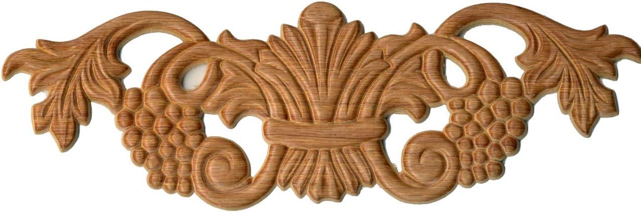 "UNIQANTIQ HARDWARE SUPPLY Trim with Grapes Red Oak Wood Applique 10-1/2"" X 3-1/5"" X 1/4"" Thickness | Onlay Antique & Modern Furniture Doors, Walls Carved Ornamental Decor | G10-B44-OAK"