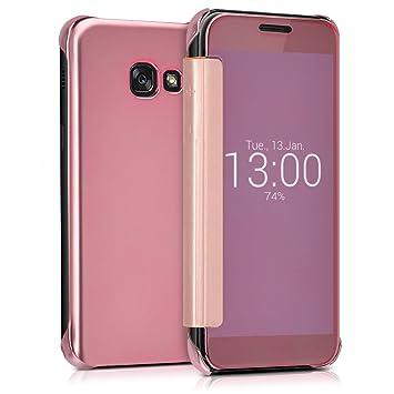 kwmobile Funda para Samsung Galaxy A3 (2017) Case Espejo Estilo Libro - Carcasa con óptica de Aluminio - Cover Plegable en Oro Rosa con Efecto Espejo ...