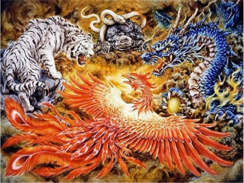 - LIPHISFUN Full Square Diamond 5D DIY Diamond Painting Dragon Phoenix Tiger Snake Embroidery Cross Stitch Rhinestone Mosaic Painting(30x40cm)