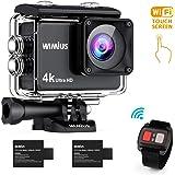 WIMIUS 4K 16MP Action Cam WIFI Subacqueo Ultra HD Touch Screen Sport fotocamera 170 ° Grandangolare Due 1050mAh Batteria Custodie impermeabili e accessori Kit