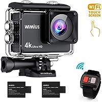 【新型】 WIMIUS アクションカメラ 4K高画質 1600万画素 HDMI出力 スポーツカメラ 2インチ液晶画面 30M 防水カメラ 170度広角レンズ アクセサリー 多数バイクや自転車や車に取り付け可能 水中カメラ 防犯カメラ ウェアラブルカメラアクションカム