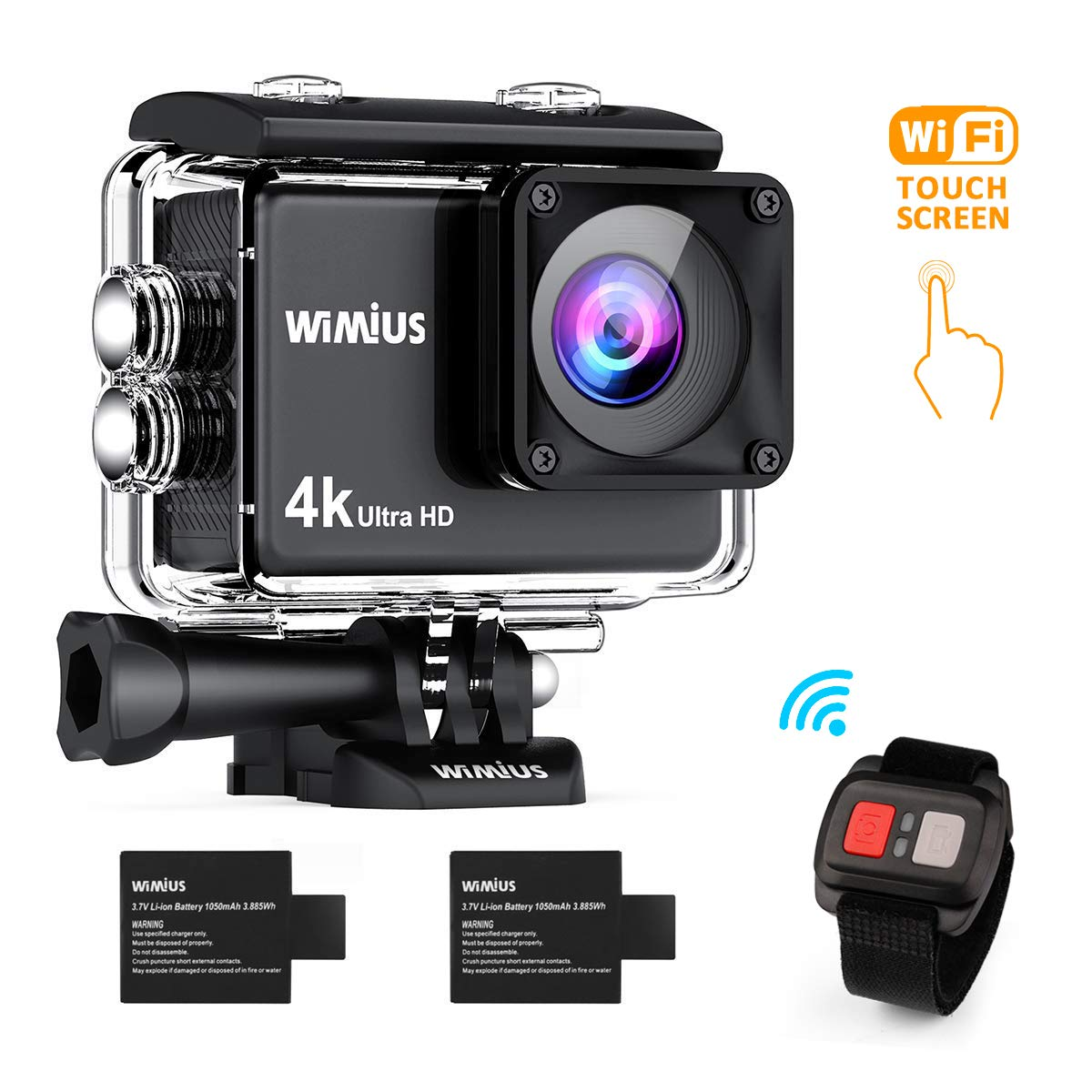 WiMiUS I3 Action Cam Native 4K Ultra HD Actioncam WiFi 40M Unterwasserkamera 170° Weitwinkel Sport Camera Helmkamera Wasserdicht mit 2 Akkus und Transporttasche