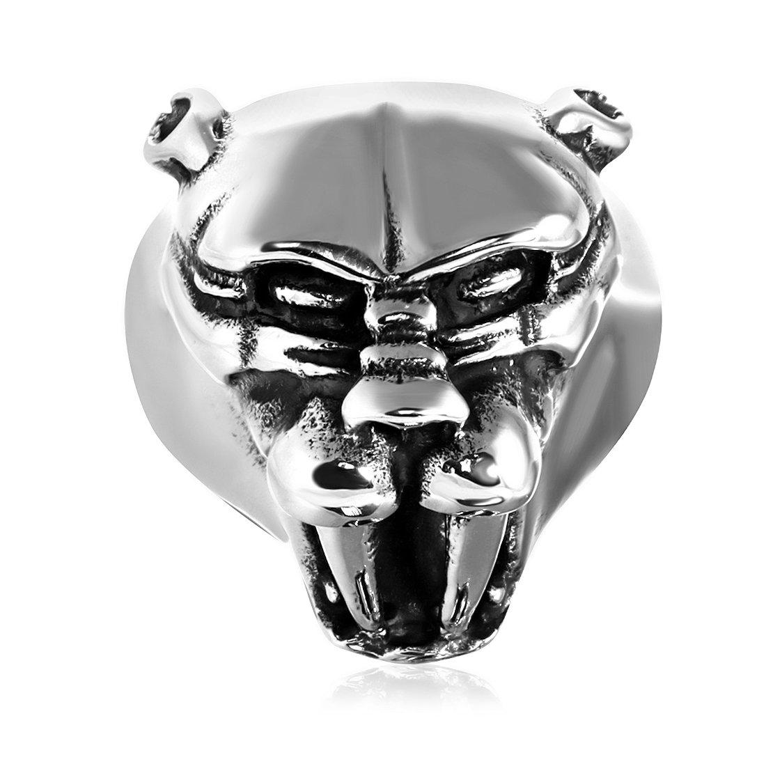 Stainless Steel 2 Color Long Fanged Demon Head Biker Ring