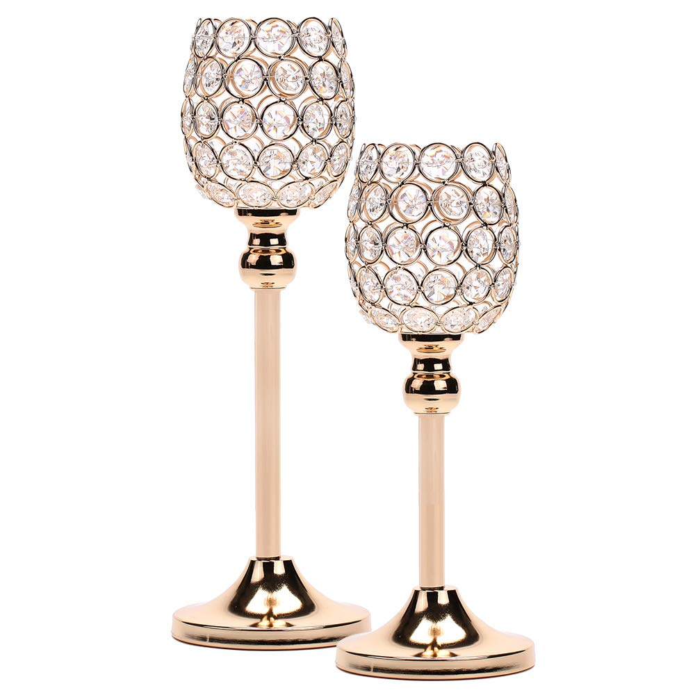 Manvi Gold Tealight Candlestick Holders, Wine Crystal Votive Candle Holders for Weddings Dinning Table Centerpieces,Thanksgiving Birthday Gifts Set of 2 Eternal-love Eternal L-Wine