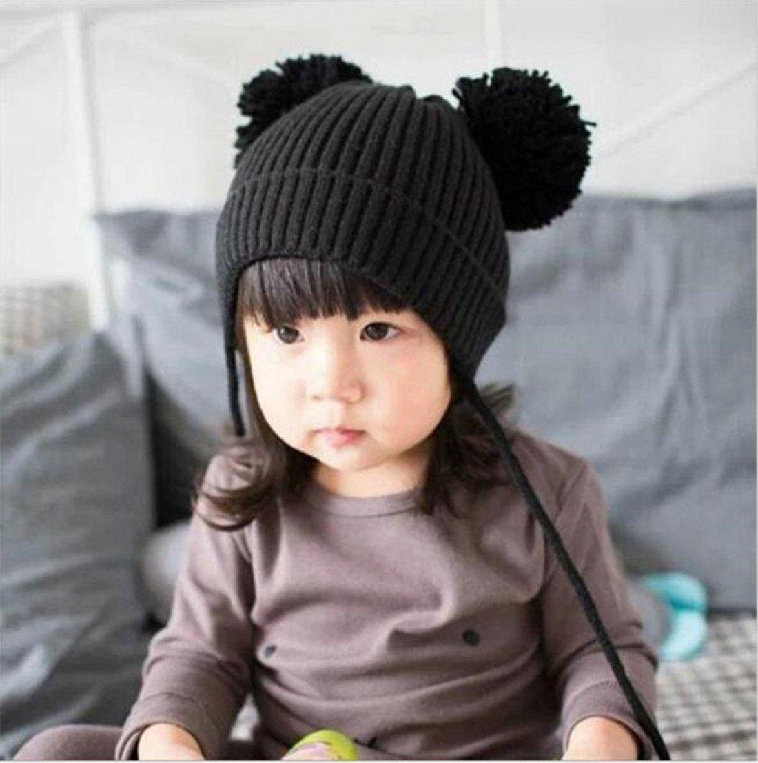 ZARU Pompon lindo bebé de invierno para niños muchachos de las niñas  calientan gorros de lana (Negro)  Amazon.es  Juguetes y juegos c16acbc3e08