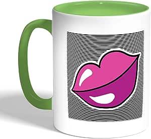 Printed Coffee Mug, Green Color, Black lips
