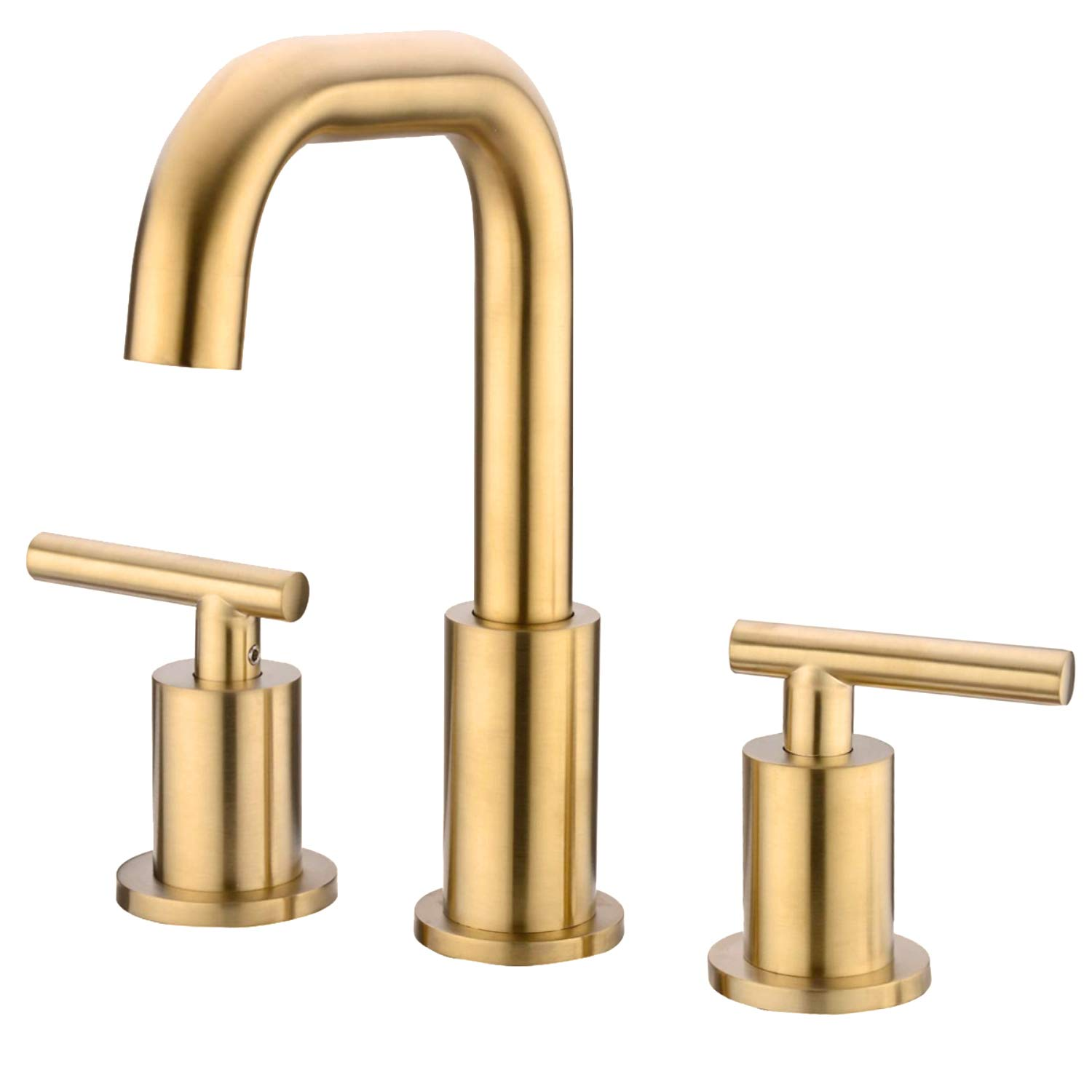 TRUSTMI 2-Handle 8-16 Inch Bathroom Sink Faucet 360-Degree Swivel Spout 3 Hole Deck Mounted with cUPC Water Supply Hoses, Brushed Gold by TRUSTMI