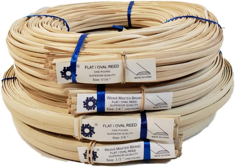 "1 Pound Coil of Flat Oval Reed for Basket & Seat Weaving, Natural Color, Any Width, 3/16"" 1/4"" 3/8"" 1/2"" (3/8"") 61OzgdsFM0L"