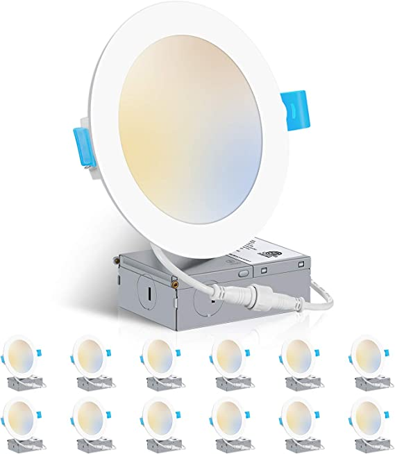 6 Inch 3000K/4000K/5000K Dimmable Ultra Thin LED Recessed Ceiling Light Fixtures with Junction Box, 12W Eqv 110W, ZADDIC 1050LM Canless Dimmable Slim Downlight - ETL and Energy Star 12 Pack