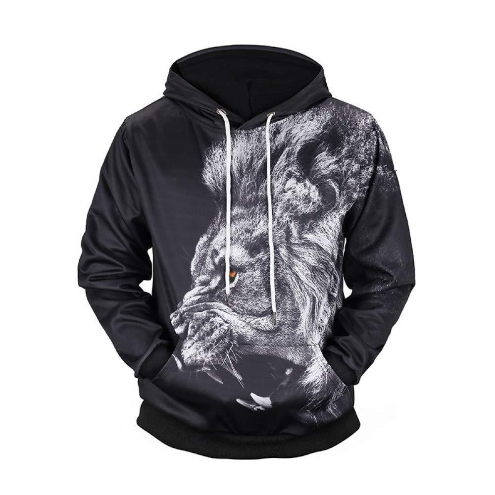 GMYANWY Herbst und Winter Löwe-Print mit Kapuze 3D-Pullover Gezeiten Markenkleidung