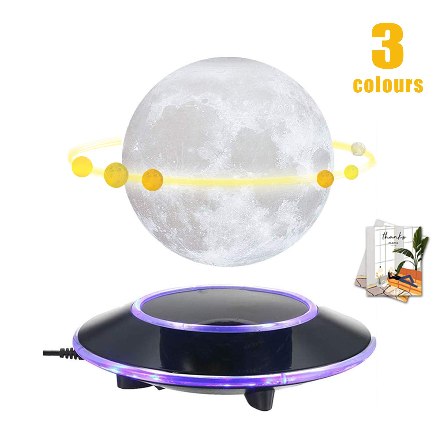 mono living Magnetic Levitating Moon Lamp Night Light 3D Print LED Auto Rotate Table Lamp TechToy Birthday Easter Gift for Her Him Mother Aunt Family Couple Daughter TeenGirl Boyfriend Girlfriend 5.9''