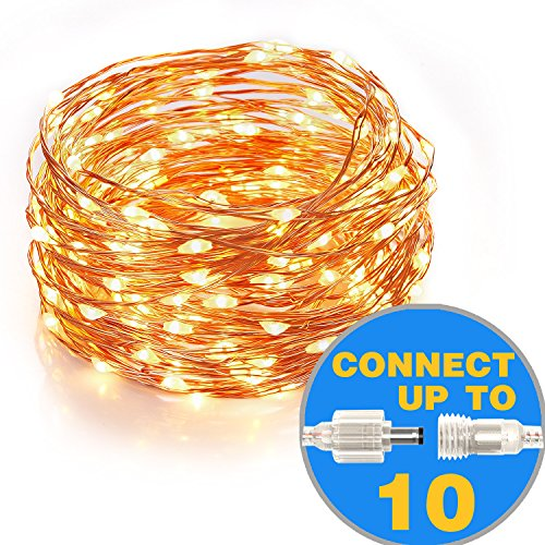 Homestarry Connectable String lights 100 LEDs 33 ft Copper Wire Lights for Indoor ,Outdoor, Christmas Decorative Lights,Patio for Seasonal Holiday ,Warm White, Connect up to max of 10 Strands (Base String Light)