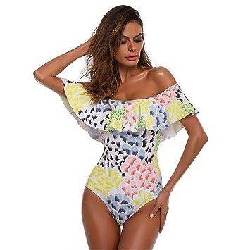 68f8c0105bb Plus Size Women Off Shoulder Swimwear Bikini 1 PCS Print Push-Up Padded  Beachwear 2018 (S