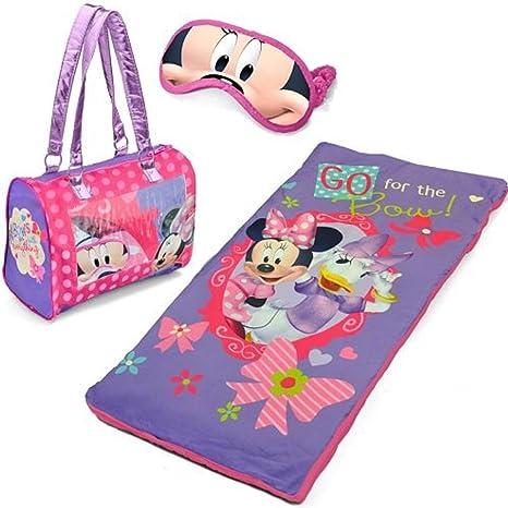 Disney Minnie Mouse juego de pijama de niña con saco de dormir, bolso de mano