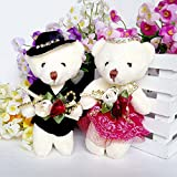 2Pcs Cute Lovely Wedding Gift Plush Toy Flower Girl Teddy Bear Baby Kids Adults Plush Dolls Stuffed Toy,Great Christmas Gift Wedding Party Present Valentine's Day Gift
