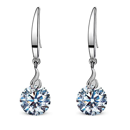 bdcb6d94a Maylover Silver Drop Earring 14k White Gold Plated 925 Sterling Silver  Naked Drill Swarovski Element Crystal