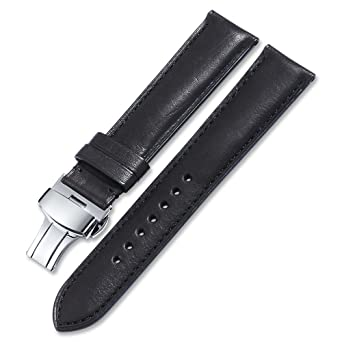 12486bd362c iStrap 20mm Calf Leather Watch Strap Quick Release Band Deployant Buckle  Black