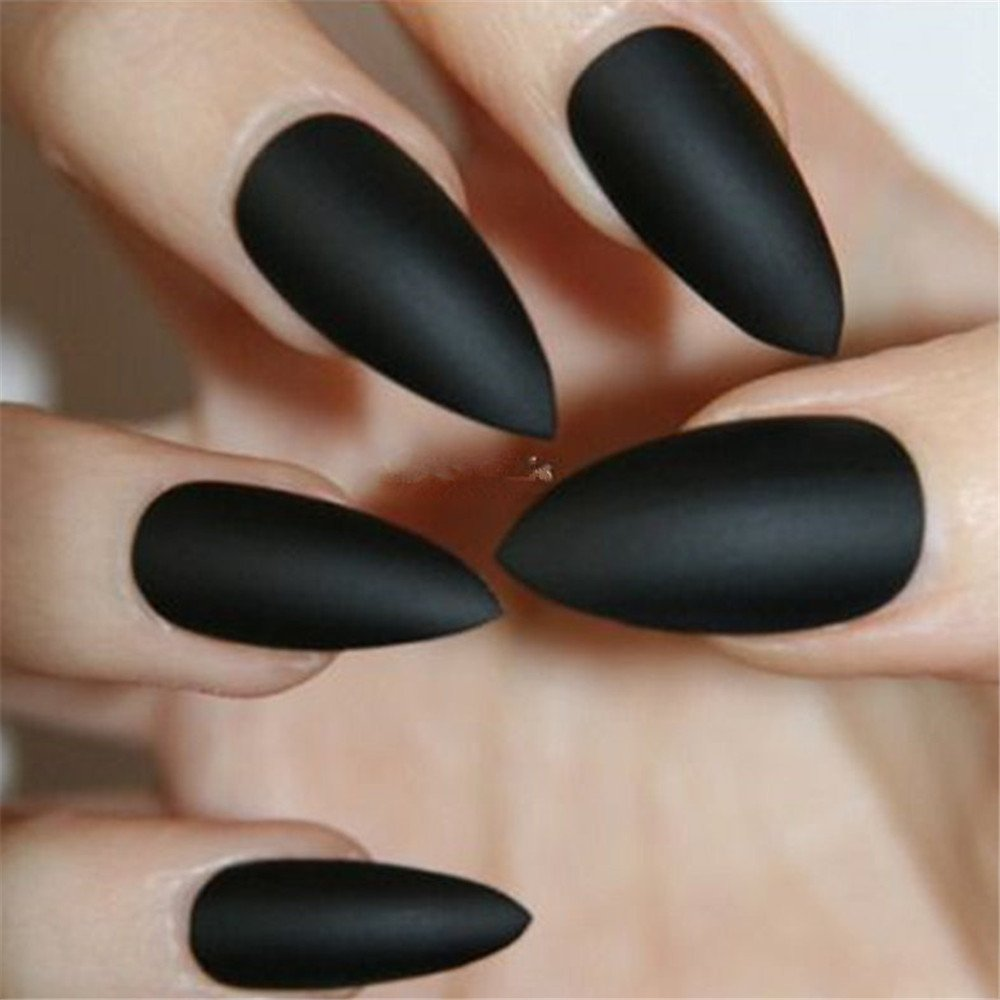 BloomingBoom 24 Pcs 12 Size Stiletto Pointed False Nail Matte Full Cover Fake Nail Press on Salon Pre Design Women Claw Mountain Peak Mist Black