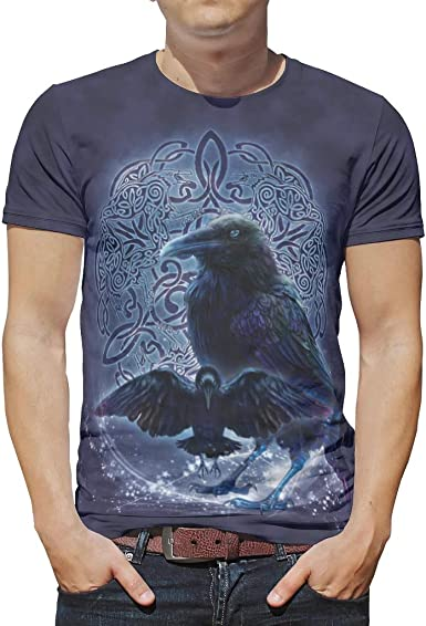 Camiseta ligera para hombre, diseño celta Odin Raven Knot ...
