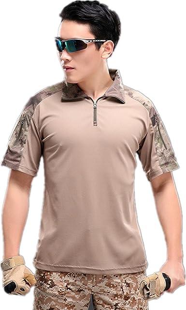 Camisa de Combate para Hombres Caza táctica Militar Polo de Manga Corta Held Airsoft Camuflaje Camiseta Uniforme táctico Ropa Deportes al Aire Libre para Multicam Gris x-Large: Amazon.es: Ropa y accesorios