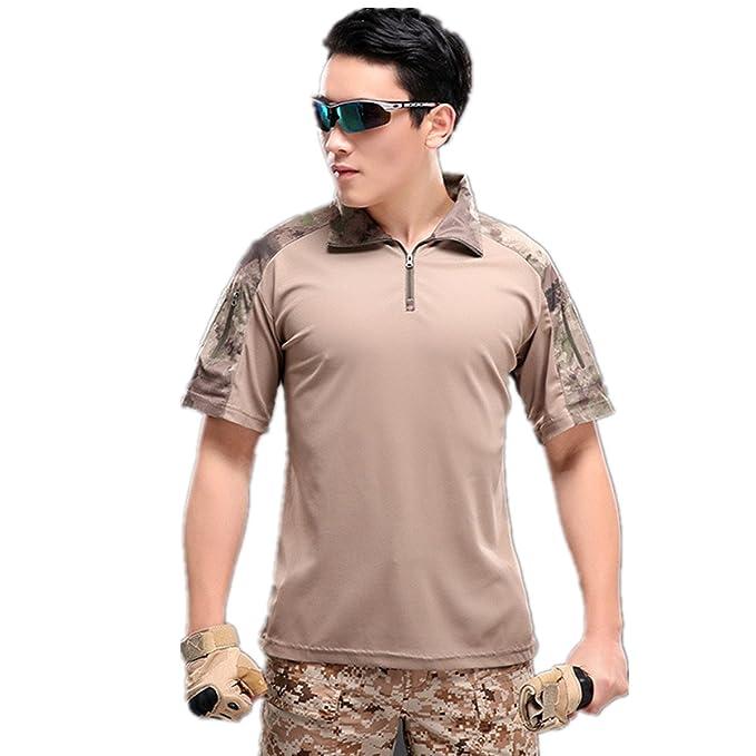 Camisa de Combate para Hombres Caza táctica Militar Polo de Manga Corta Held Airsoft Camuflaje Camiseta Uniforme táctico Ropa Deportes al Aire Libre para ...
