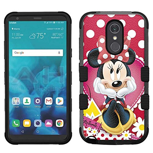 (LG Stylo 4 Case, LG Q Stylus Case, LG Stylus 4 Case, Hard+Rubber Dual Layer Hybrid Heavy-Duty Rugged Armor Cover Case - Minnie Mouse #Polka Dots)
