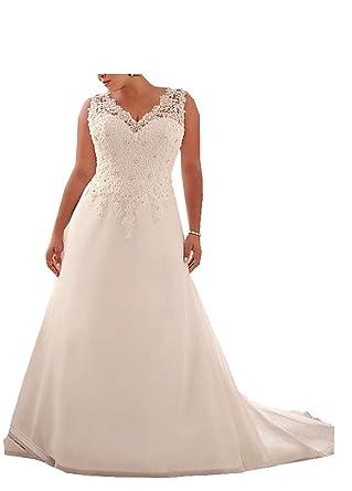 Amazon.com: Qing Women\'s Wedding Dresses For Bride V-Neck Applique ...