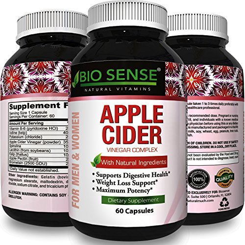 Apple Cider Vinegar Pills for Weight Loss – Extra Strength Fat Burning Supplement – Pure Detox Cleanse & Digestion Support – Natural Apple Cider Vinegar Capsules for Men & Women – By Bio Sense