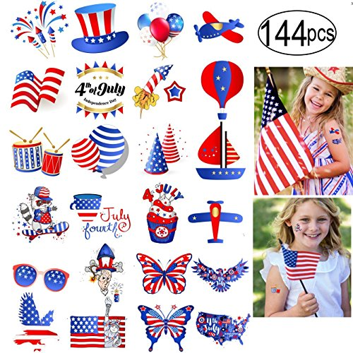 Price comparison product image Fourth of July Tattoos 144 Pcs Patriotic Independence Day Party Accessories for Kids