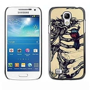 TopCaseStore / la caja del caucho duro de la cubierta de protección de la piel - Robin Bird Skeleton Brown Black - Samsung Galaxy S4 Mini i9190 MINI VERSION!