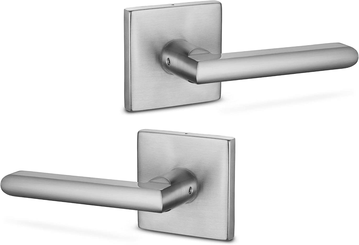 Berlin Modisch Dummy Lever Door Handle Pack Of 2 Slim Square Non Turning Single Side Pull Only Lever Set For Closet Or French Doors Heavy Duty Satin Nickel Finish