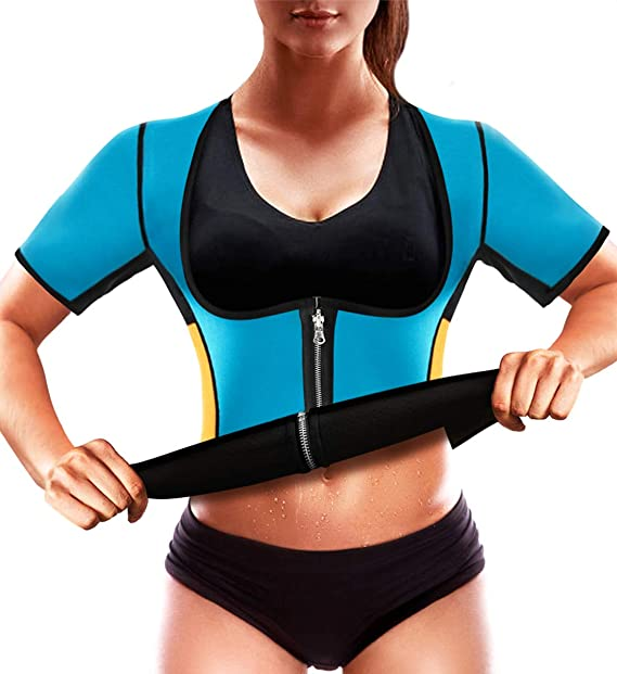 32741432b8 RIBIKA Sauna Vest Women Shapewear Body Shaper Waist Trainer Corsets Weight  Loss Suit Blue