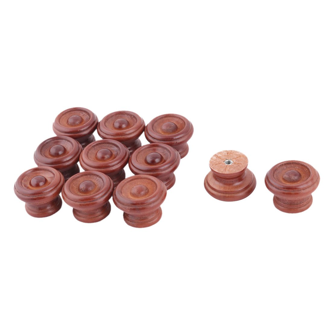 uxcell Wood Apartment Round Cabinet Door Pull Handle Grip Knob 1.5 Inch Dia 11 Pcs