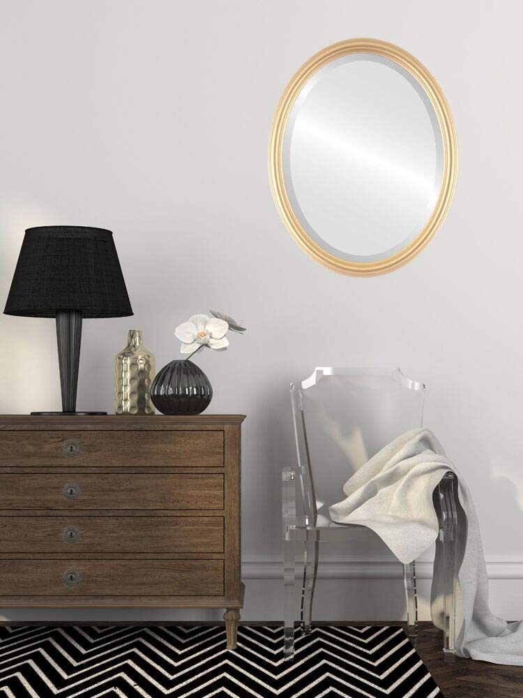 Oval Beveled Wall Mirror for Home Decor - Saratoga Style - Gold Spray - 18x22 outside dimensions