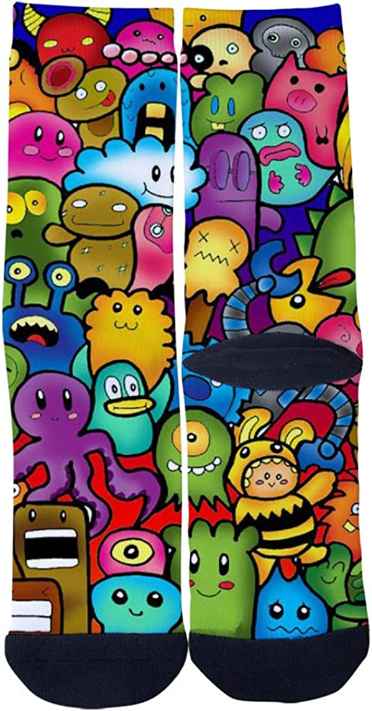TheFun-Z Custom Cute Cartoon Doodle Socks Novelty Funny Cartoon Crew Socks Elite Casual Socks