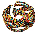 """Bright Multi-Color Red Green Blue Yellow Brown Orange Braided Flexible Seed Bead Cuff Bracelet, 1 ¾"""" Wide"""
