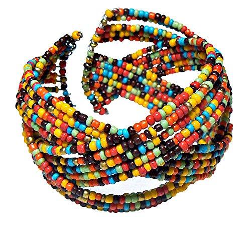 [Multi-Color Seed Bead Cuff Bracelet] (70s Look For Women)
