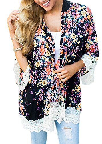 Women Beach Floral Print 3/4 Sleeve Open Front Lace Hem Sheer Chiffon Kimono Cardigan Black S