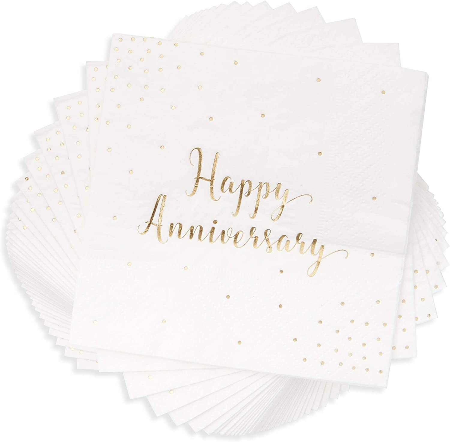 Blue Panda Anniversary Party Supplies, Cocktail Napkins (5 x 5 in, Gold Foil, 50-Pack)