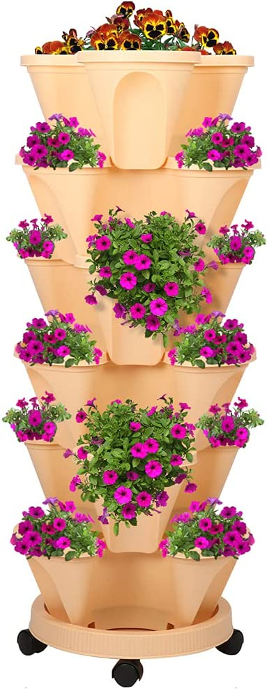 SKONHED 6 Tier Stackable Gardening Pots, Outdoor Porch for Growing Herbs Flowers Vegetables Garden Tower Ideal Stackable Vertical Planter Set Apricot Color