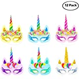 Lemoncy 12 Pack Rainbow Paper Masks Kids Birthday Masks Party Hat Eye Masks for Themed Party Favors