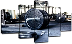 Closeup of Barbell Wall Art Fitness Equipment in Gym Pictures for Boys Men Bedroom Artwork Painting Home Decor Canvas Prints Poster Sportsman Gifts Decoration Framed Ready to Hang(60''Wx32''H)