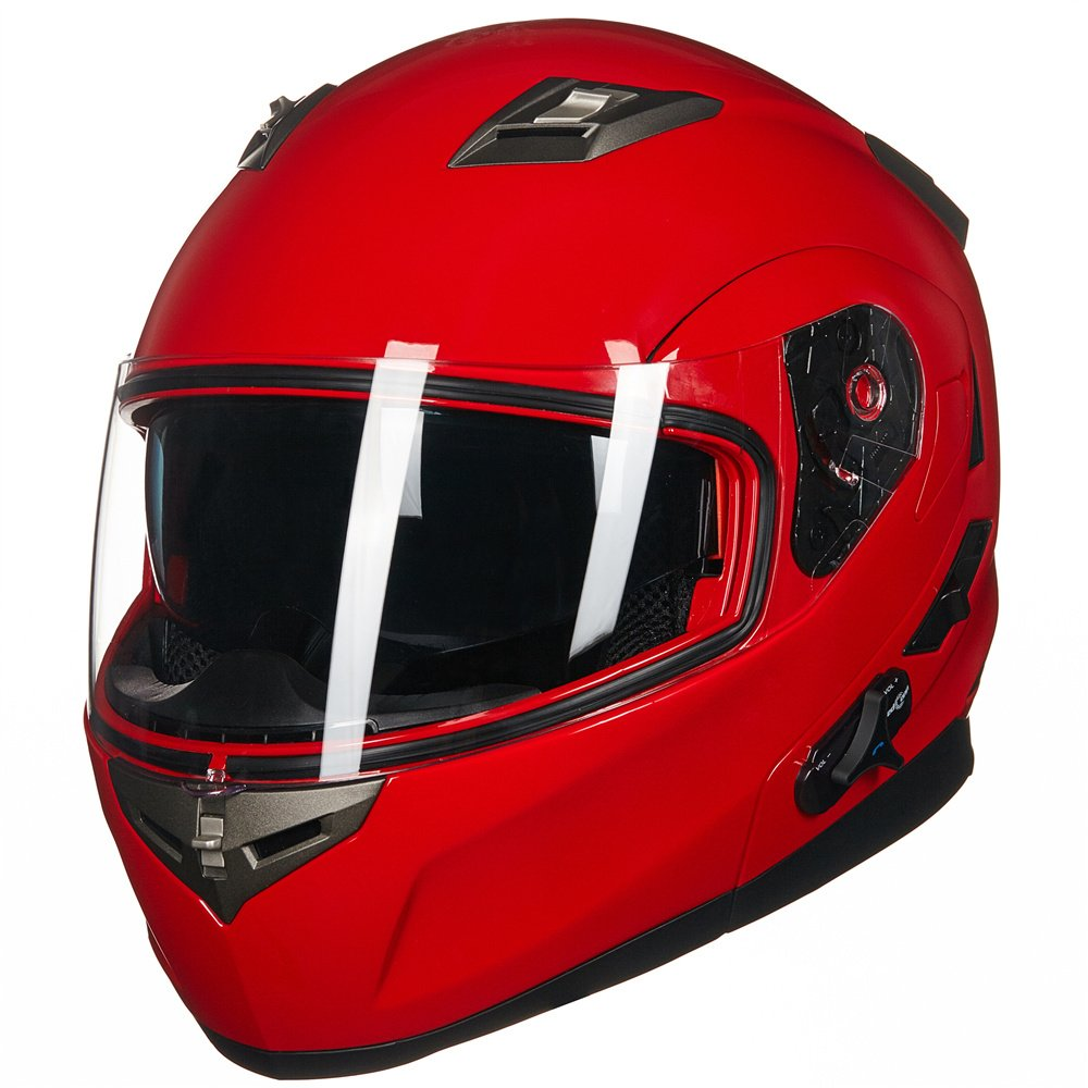 ILM Bluetooth Integrated Modular Flip up Full Face Motorcycle Helmet Sun Shield Mp3 Intercom (XL, RED) by ILM (Image #3)